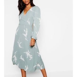 Tall Floral Print Midi Wrap Dress